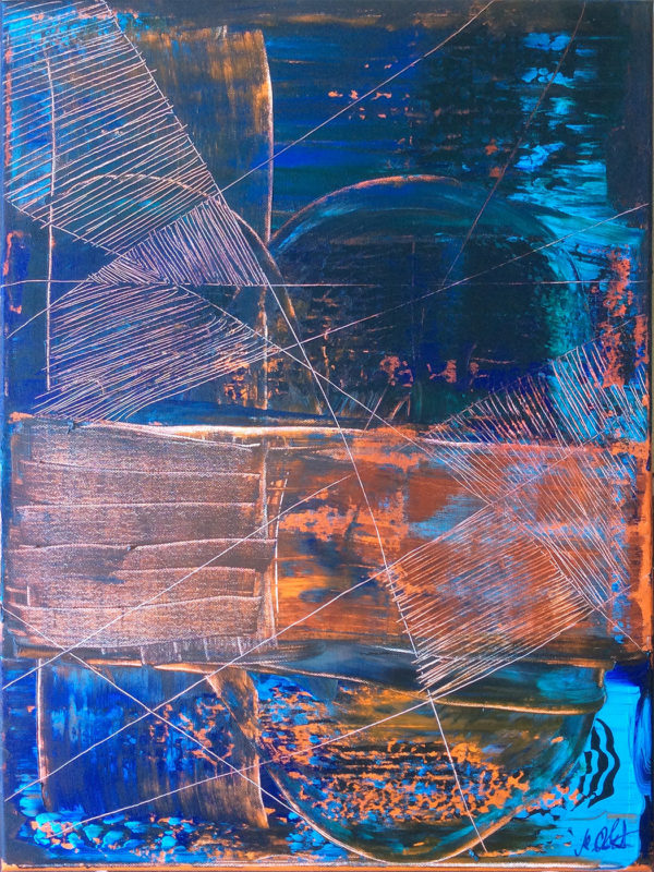 Universal Connections Crossed by Orange 18 x 24 in. / 45,7 x 61 cm Acrylics on canvas Martin Lukas Ostachowski