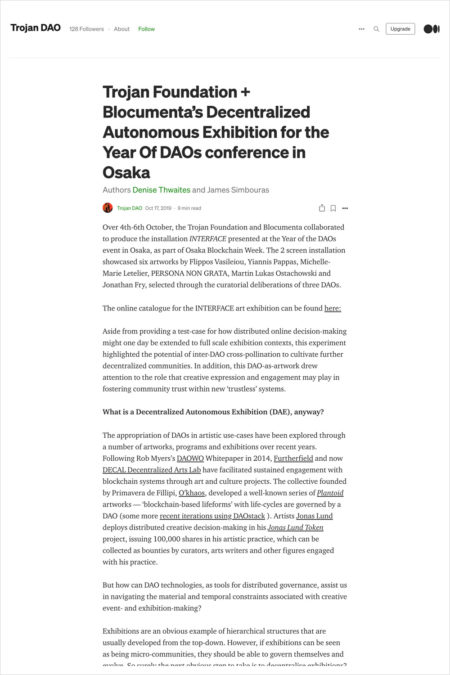 Trojan Foundation + Blocumenta's Decentralized Autonomous Exhibition for the Year Of DAOs conference in Osaka