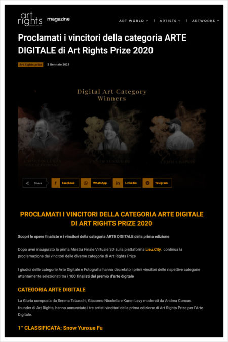 Proclamati i vincitori della categoria ARTE DIGITALE di Art Rights Prize