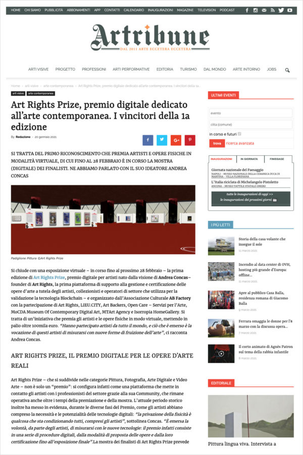 Artribune - Art Rights Prize