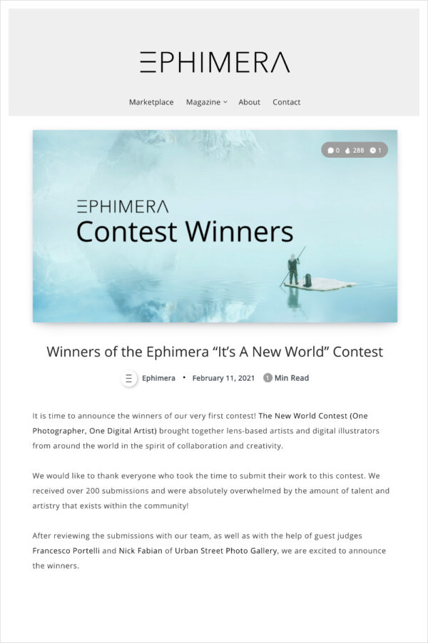 Winners of the Ephimera It's A New World Contest